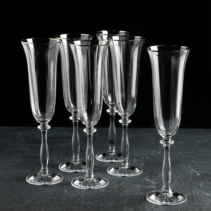 """Набор бокалов для шампанского 190 мл """"Анжела. Грани"""", 6 шт"""