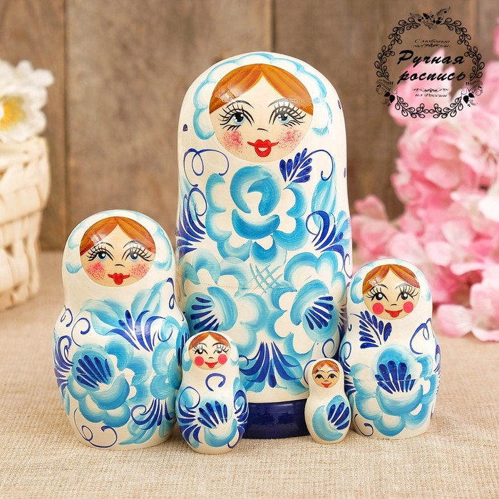 Матрёшка «Гжель», синий платок, 5 кукольная, 17 см