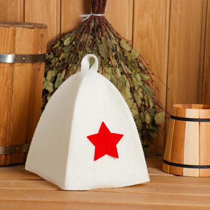 Шапка для бани и сауны «Звезда», комбинированная