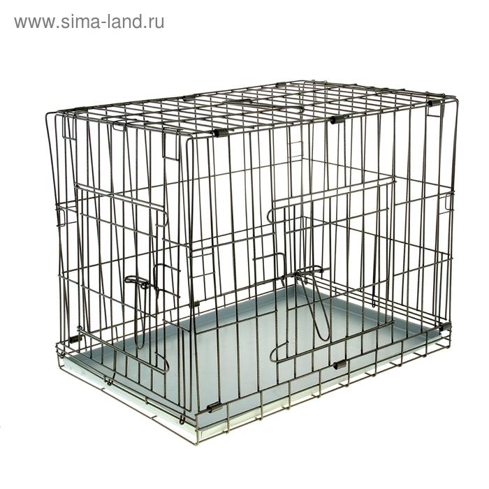 Клетка для собак и кошек № 4, 76 х 53 х 61 см, черная