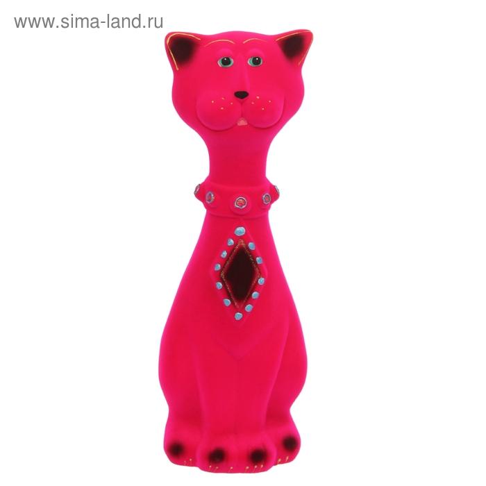 """Копилка """"Кот Феликс"""" средняя, флок, розовая"""