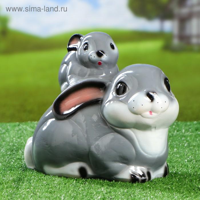 """Садовая фигура """"Зайчиха с зайчонком"""" глянец, голубая"""