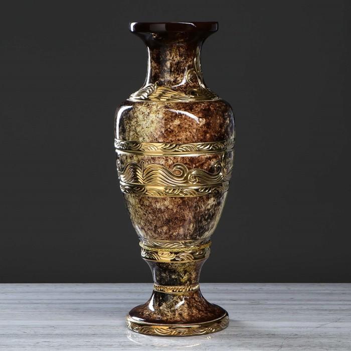 """Ваза нпаольная """"Альфа"""" орнамент, малахит, коричнавая, золото, 58 см"""