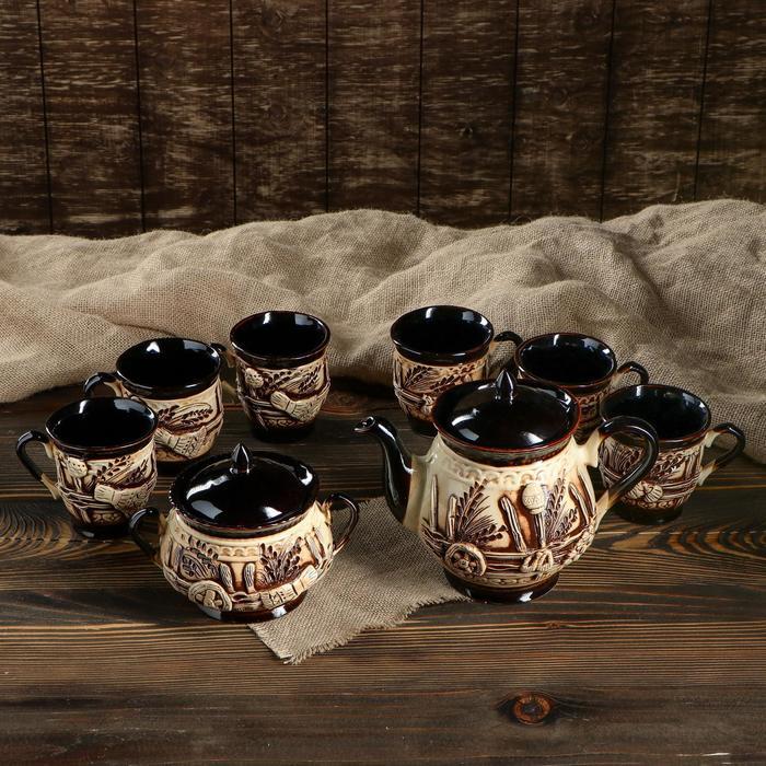 """Чайный набор """"Витязь"""" 8 предметов: чайник 1,5 л, сахарница 0,7 л, кружки 0,45 л"""