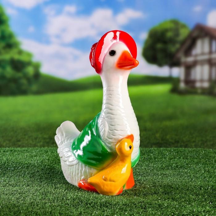 """Садовая фигура """"Гусыня с гусенком"""", разноцветный, 32 см, микс"""