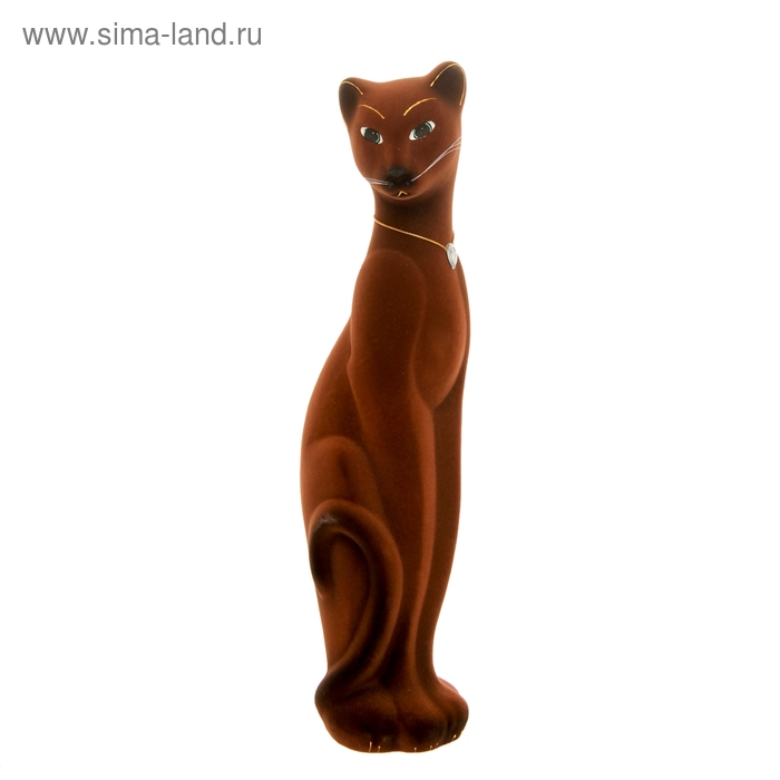 "Копилка ""Кошка Багира"" флок, коричневая"