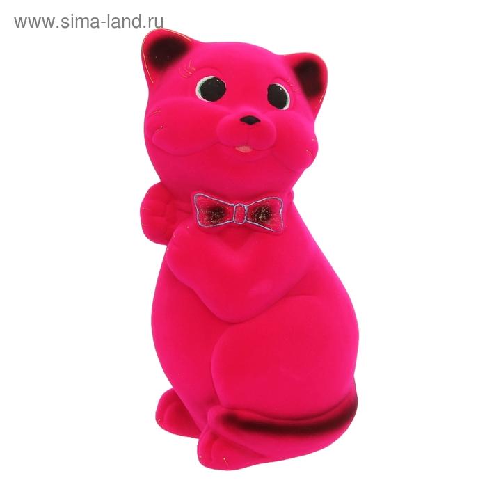"""Копилка """"Кот Пушистик"""" большая, флок, розовая"""