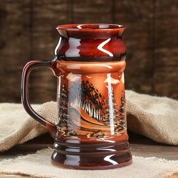 Кружка для пива, художественная роспись, коричневая, 0,9 л