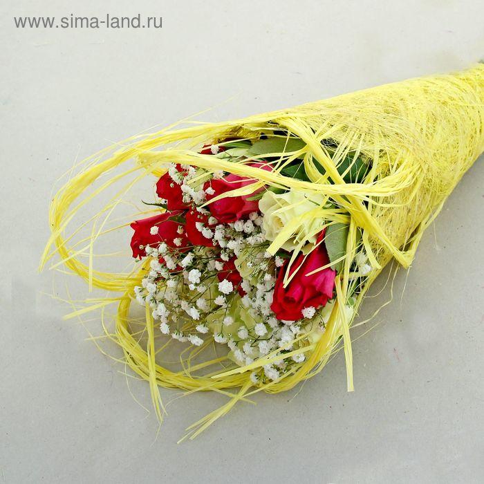 Салфетка Веер мини, лён, лимонный