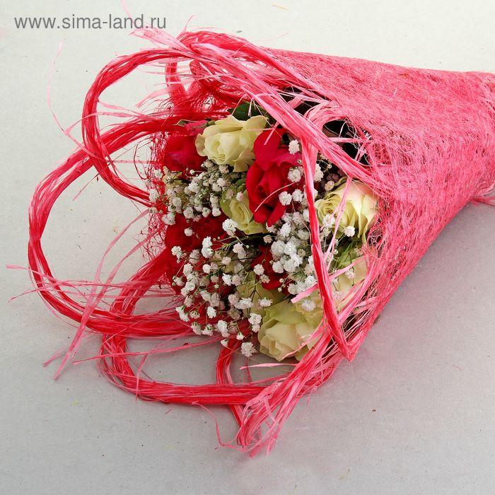 Салфетка Веер ажурная, лён, ярко-розовый