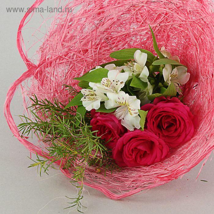 Каркас для букета, 40см, лён, ярко-розовый