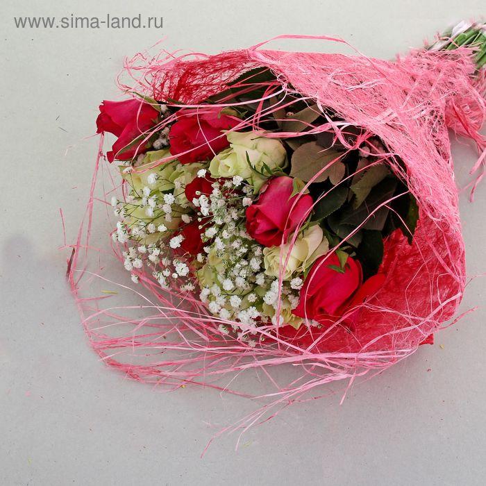 Салфетка Круглая, лён с бахромой ярко-розовый