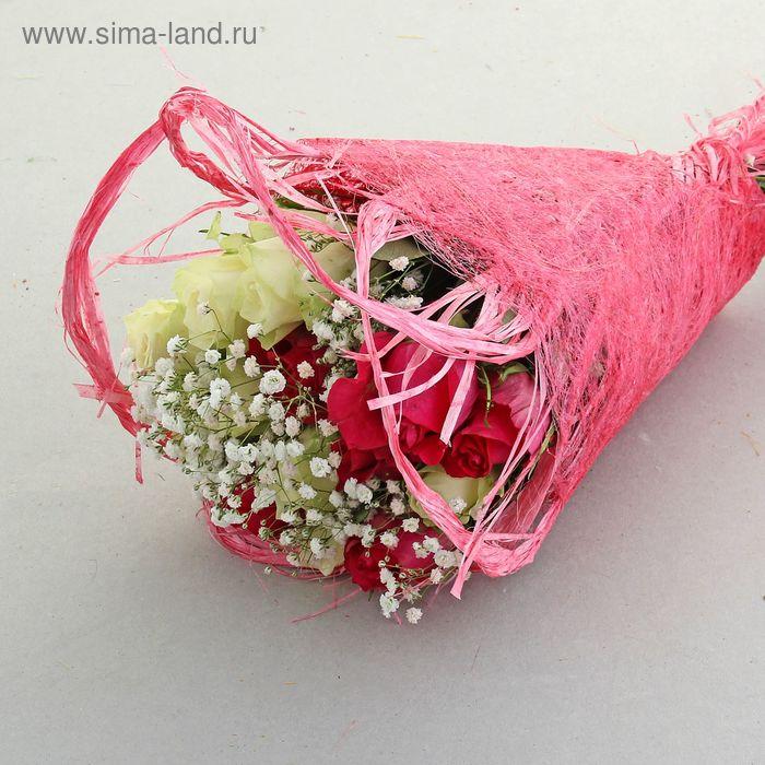 Салфетка Веер мини, лён, ярко-розовый