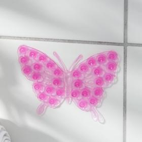 Мини-коврик для ванны «Ажурная бабочка», 9×12 см, цвет МИКС Ош