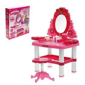 """Игровой набор """"Модница"""": столик с зеркалом, стульчик, фен, аксессуары, со светом и звуком, высота 72 см, работает от батареек"""