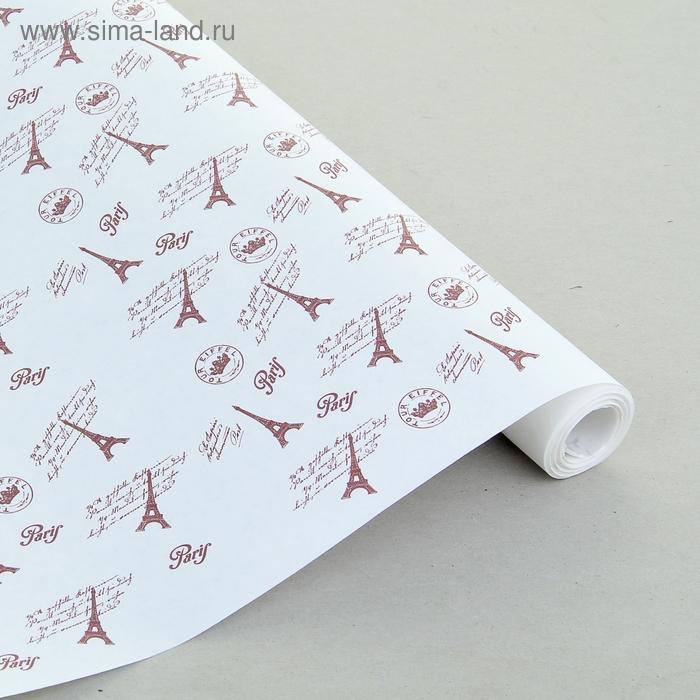 """Бумага упаковочная крафт """"Париж"""" белый-коричневый, 0.7 х 9 м"""