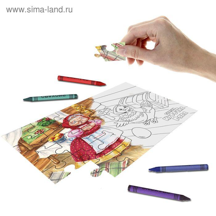 """Пазл-раскраска 2 в 1 """"Курочка Ряба"""" с восковыми карандашами"""