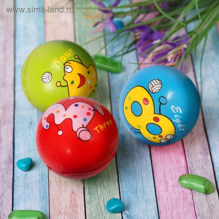 """Мягкий мяч """"Весёлые животные"""", цифры, 6,3 см, цвета МИКС"""
