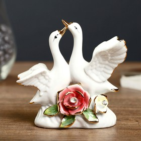 "Souvenir ""Two white swans, the flower"" with strati"