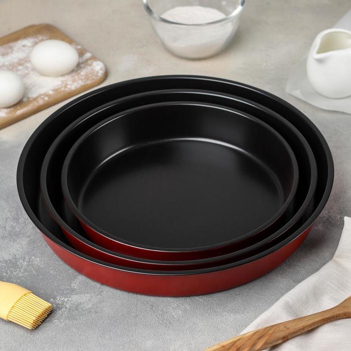 Набор форм для выпечки Доляна «Ренард. Круг», 3 шт: 32 см, 28 см, 24 см, антипригарное покрытие