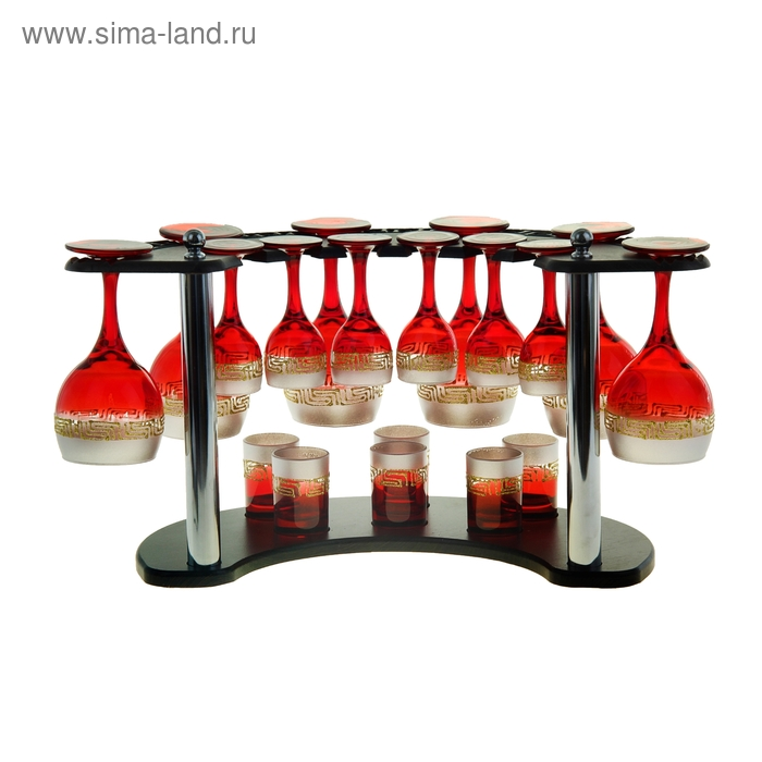 "Мини-бар ""Верс"" 18 предметов, под вино, красно-серебристый"