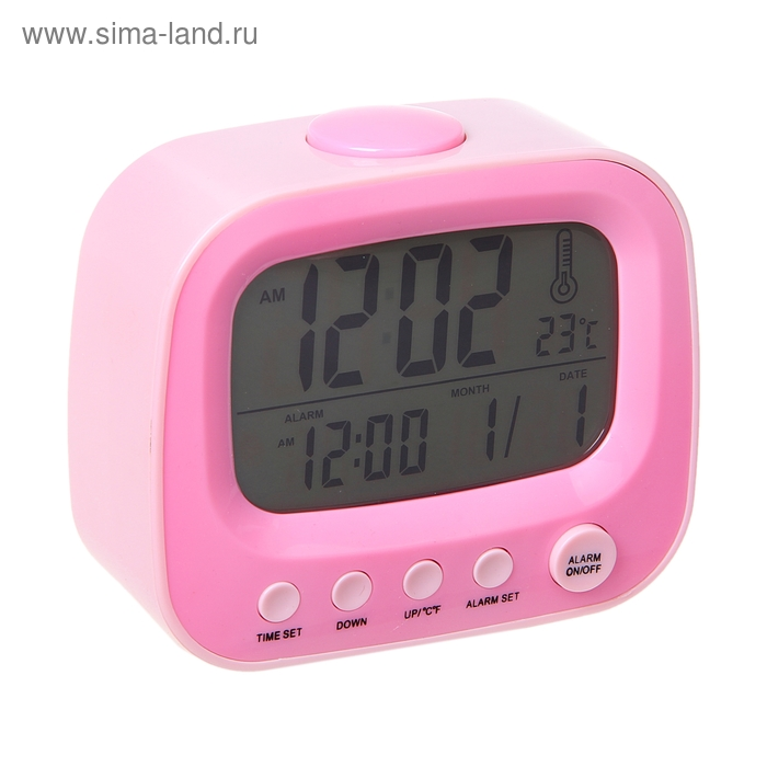 """Часы-будильник """"Телевизор"""", розовый"""
