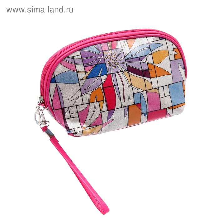 """Косметичка ассорти """"Абстракция"""", 1 отдел, с ручкой, цвет малиновый"""