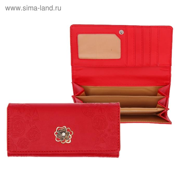 """Кошелёк женский """"Цветок"""", 5 отделов, отдел для кредиток, цвет красный"""