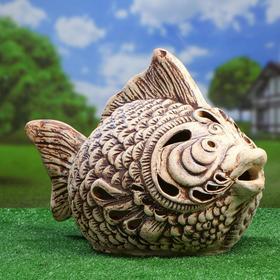 Садовый светильник ''Рыба'', шамот, без элемента питания