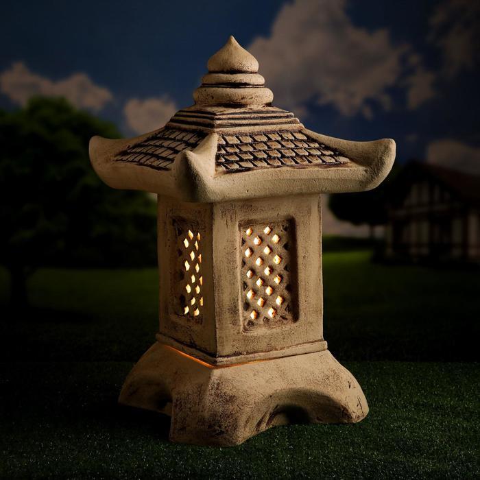Садовый светильник ''Китайский домик'', большой, шамот, 42 см