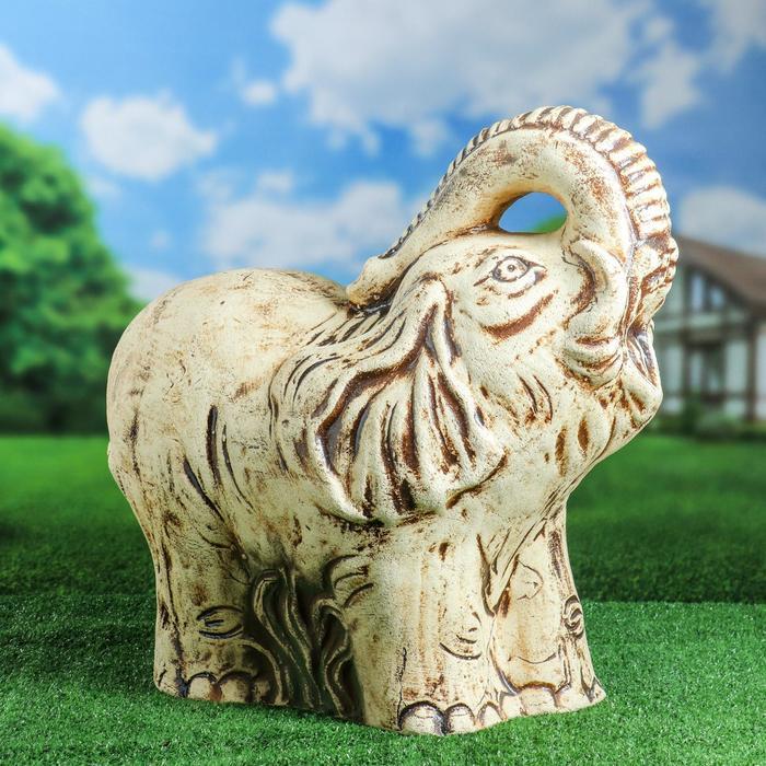 """Садовая фигура """"Слон с поднятым хоботом"""" шамот"""