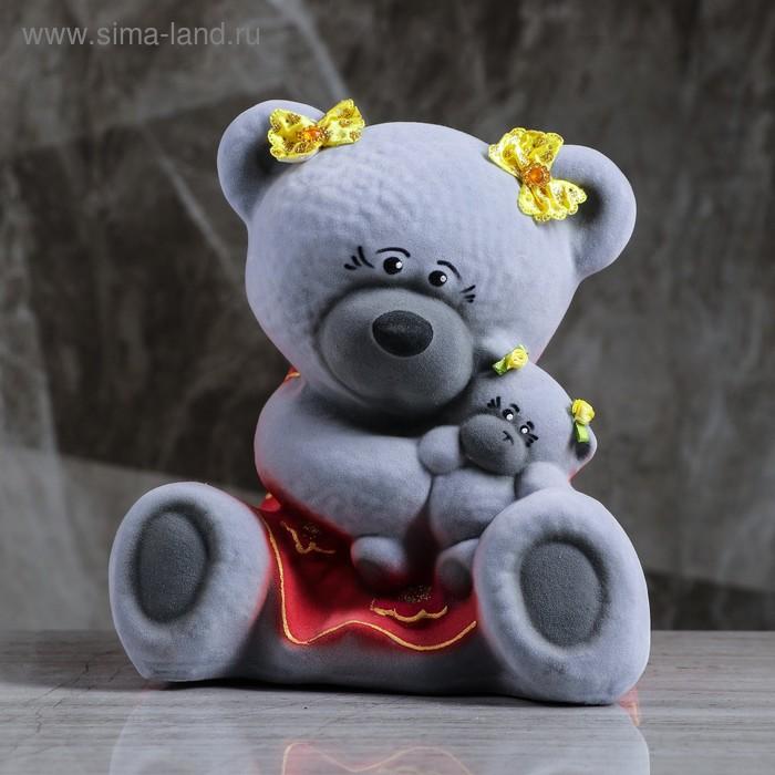 """Копилка """"Медведица с малышом"""" малая, флок, серая"""