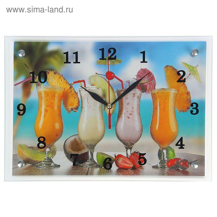 """Часы настенные прямоугольные """"Тропические коктейли"""", 25х35 см"""