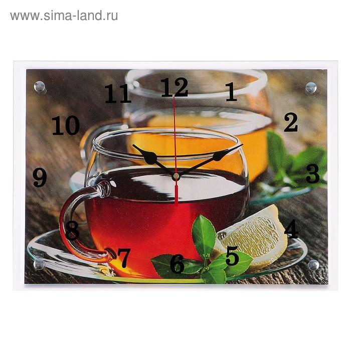 """Часы настенные, серия: Кухня, """"Чай с лимоном"""", 25х35  см, микс"""