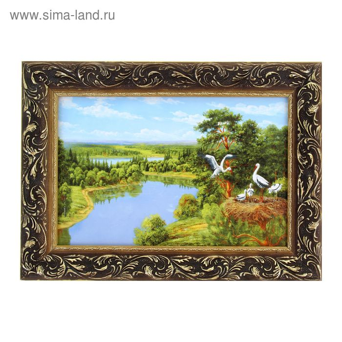 "Картина ""Аисты на берегу реки"""