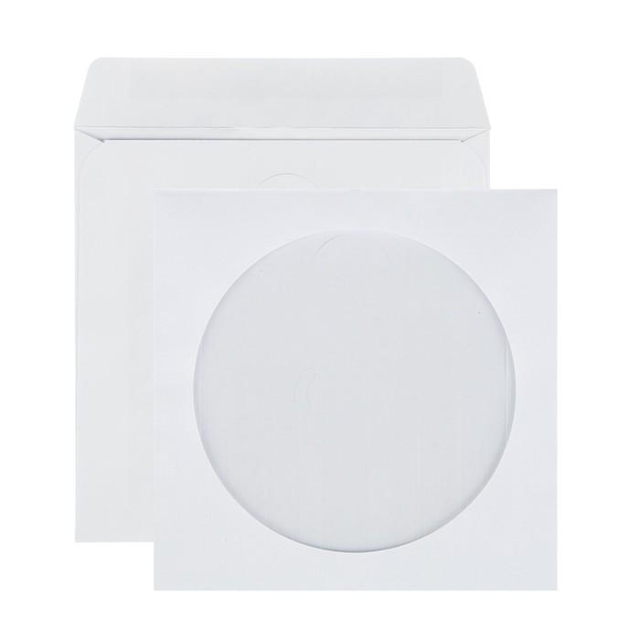 Конверт почтовый для CD/DVD 125х125 мм, чистый, окно д=100, клей, 80 г/м², в упаковке 1000 шт. - фото 308984049