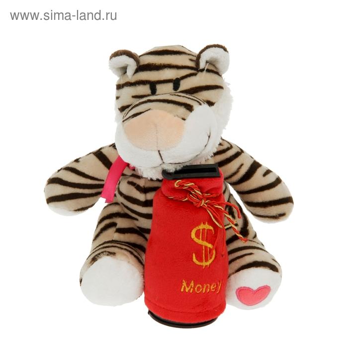 """Мягкая игрушка-копилка музыкальная """"Тигр с бантиком"""""""