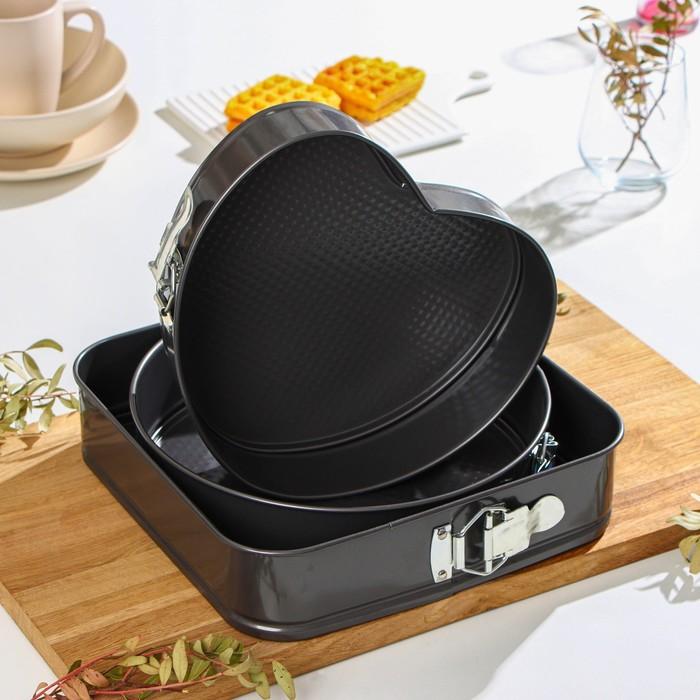 Набор форм для выпечки разъёмны× «Элин», 3 шт: 25 см, 21 см, 26 см, с антипригарным покрытием