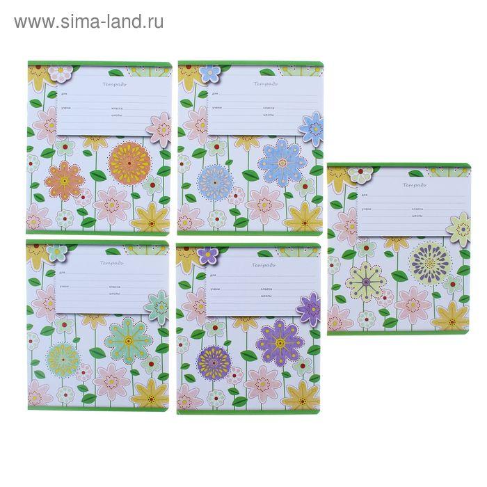 Тетрадь 12 листов линейка Fleur design, картонная обложка, МИКС, EK 37492