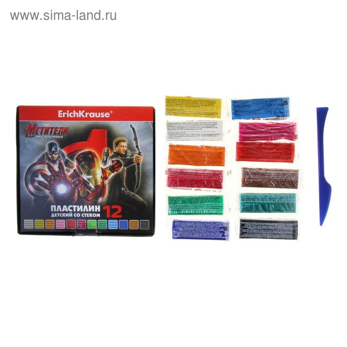 """Пластилин 12 цветов 216г """"Мстители-2"""" со стеком, EK 37996"""