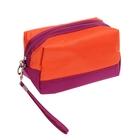 """Косметичка-ассорти """"Однотонная"""", 1 отдел, ручка, цвет оранжево-фиолетовый"""