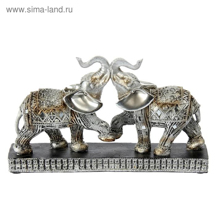 """Сувенир """"Два слона серебряных на подставке"""""""