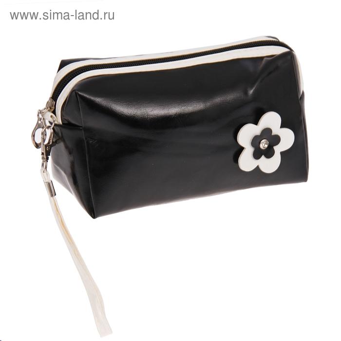 """Косметичка-ассорти """"Цветик"""", 1 отдел, ручка, цвет чёрный"""