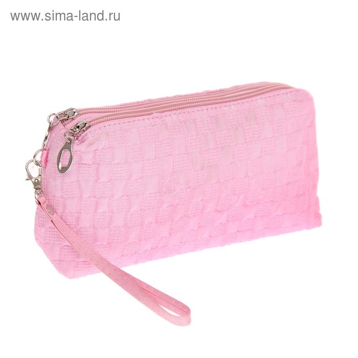 """Косметичка-ассорти """"Клеточка"""", 2 отдела, ручка, цвет розовый"""