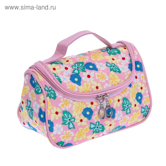 """Косметичка-сумочка """"Полянка"""", 1 отдел, ручка, с зеркалом, цвет розовый"""