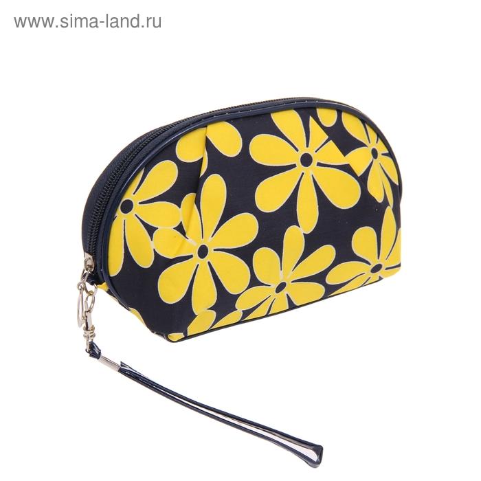 """Косметичка-ассорти """"Гербера"""", 1 отдел, ручка, цвет черно-желтый"""
