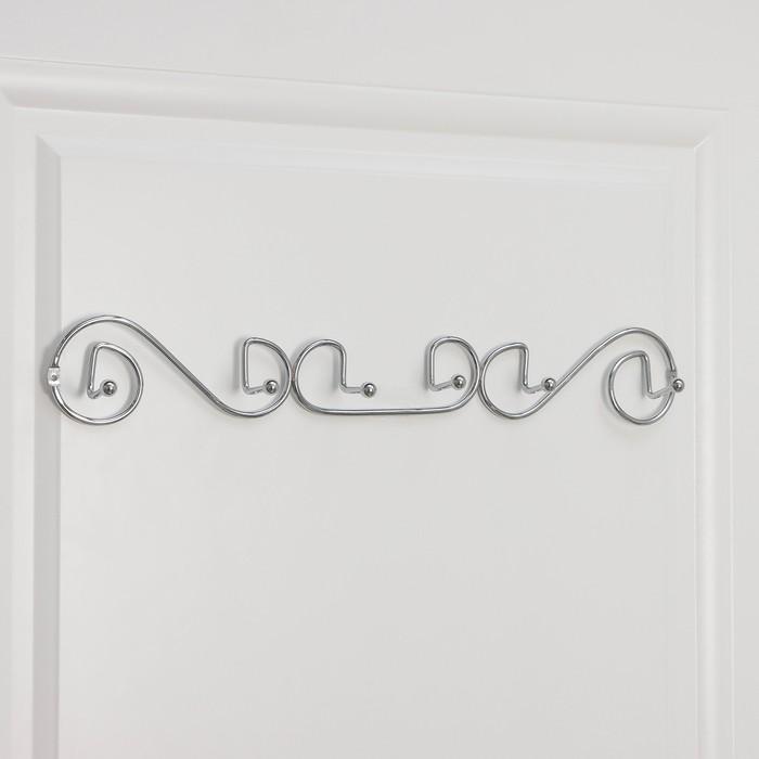 Вешалка настенная на 6 крючков Доляна «Меандр», 47×5×7 см, цвет хром