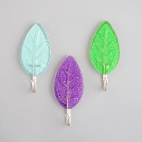 Набор крючков на липучке 'Листья', 3 шт, цвет МИКС Ош