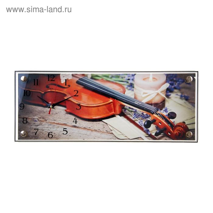 """Часы-картина настенные прямоугольные """"Скрипка"""", 50х20 см"""