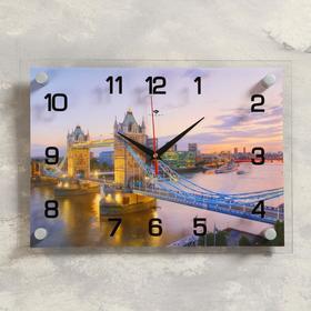Часы настенные прямоугольные 'Тауэрский мост вечером', 25х35  микс Ош
